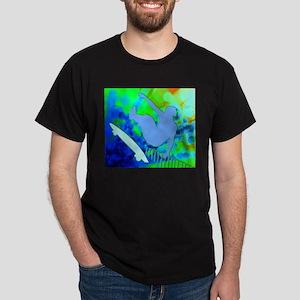 Airborne Skateboarder Blue and Green Bokke T-Shirt