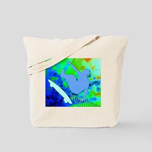Airborne Skateboarder Blue and Green Bokk Tote Bag