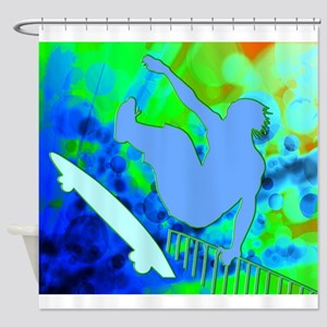 Airborne Skateboarder Blue and Gree Shower Curtain