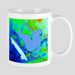 Airborne Skateboarder Blue and Green Bokkeh Mugs