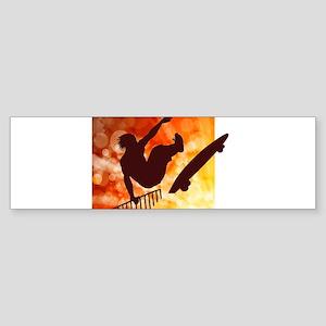Skateboarder in Air Yellow and Oran Bumper Sticker