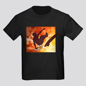 Skateboarder in Air Yellow and Orange Bokk T-Shirt