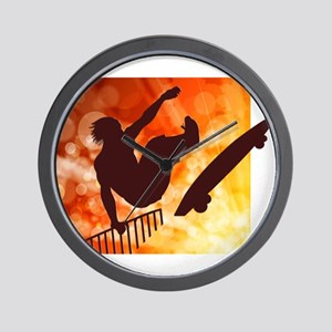 Skateboarder in Air Yellow and Orange B Wall Clock
