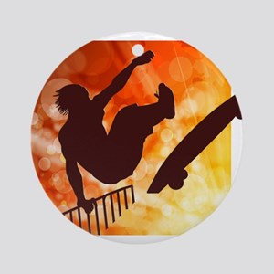 Skateboarder in Air Yellow and Oran Round Ornament