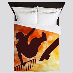 Skateboarder in Air Yellow and Orange Queen Duvet