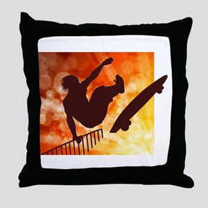 Skateboarder in Air Yellow and Orange Throw Pillow