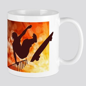 Skateboarder in Air Yellow and Orange Bokkeh Mugs