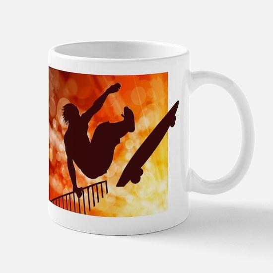 Skateboarder in Air Yellow and Orange Bokkeh Mugs