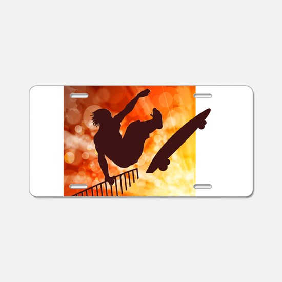Skateboarder in Air Yellow Aluminum License Plate
