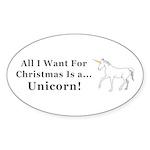 Christmas Unicorn Sticker (Oval 50 pk)