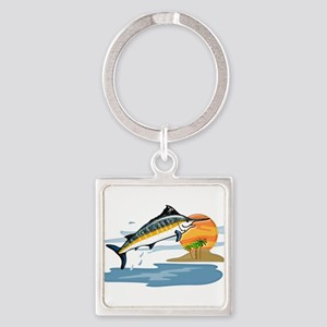 Blue Marlin in Tropical Sea Keychains