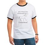 Christmas Unicorn Ringer T