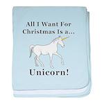 Christmas Unicorn baby blanket