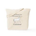 Christmas Unicorn Tote Bag
