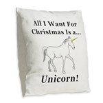 Christmas Unicorn Burlap Throw Pillow