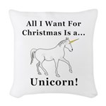 Christmas Unicorn Woven Throw Pillow