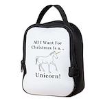 Christmas Unicorn Neoprene Lunch Bag