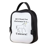 Christmas Unicorn Neoprene Lunch Bag