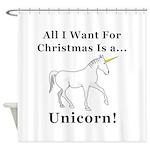 Christmas Unicorn Shower Curtain