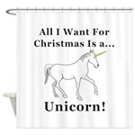 Christmas Unicorn Shower Curtain
