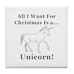 Christmas Unicorn Tile Coaster