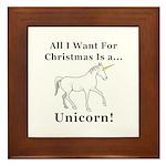 Christmas Unicorn Framed Tile