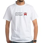 Christmas Fire Truck White T-Shirt