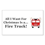 Christmas Fire Truck Sticker (Rectangle)