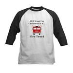 Christmas Fire Truck Kids Baseball Jersey