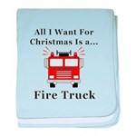 Christmas Fire Truck baby blanket