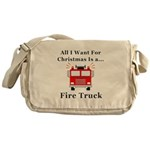 Christmas Fire Truck Messenger Bag