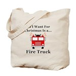 Christmas Fire Truck Tote Bag