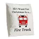 Christmas Fire Truck Burlap Throw Pillow