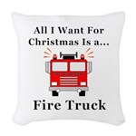 Christmas Fire Truck Woven Throw Pillow