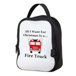 Christmas Fire Truck Neoprene Lunch Bag