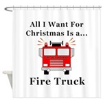 Christmas Fire Truck Shower Curtain