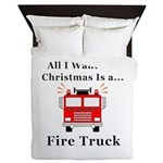 Christmas Fire Truck Queen Duvet