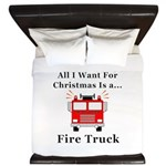 Christmas Fire Truck King Duvet