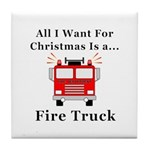 Christmas Fire Truck Tile Coaster