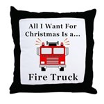 Christmas Fire Truck Throw Pillow