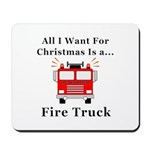 Christmas Fire Truck Mousepad