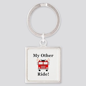 Fire Truck Ride Square Keychain