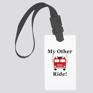 Fire Truck Ride Large Luggage Tag