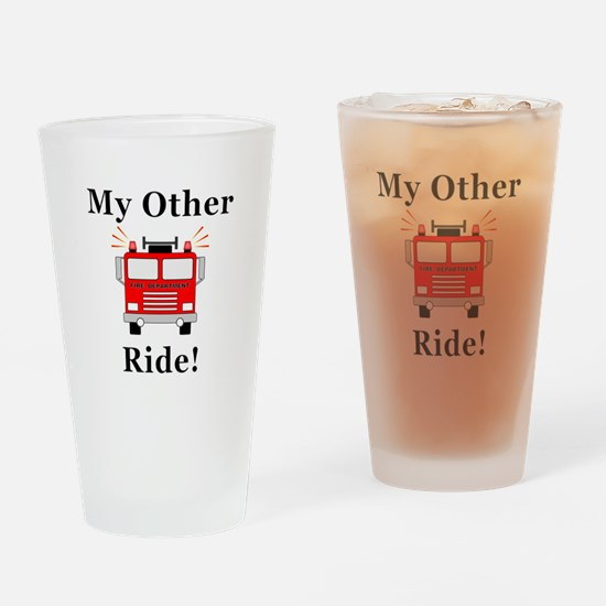 Fire Truck Ride Drinking Glass