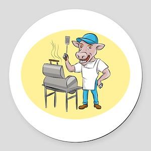 Cow Barbecue Chef Smoker Oval Cartoon Round Car Ma