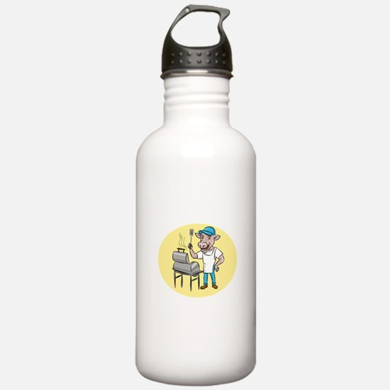 Cow Barbecue Chef Smoker Oval Cartoon Water Bottle