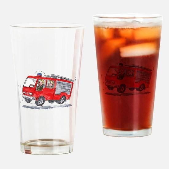 Red Fire Truck Fireman Caricature Drinking Glass