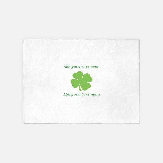 St. Patricks Day personalisable shamrock 5'x7'Area
