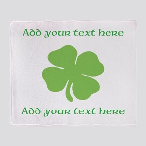 St. Patricks Day personalisable shamrock Throw Bla