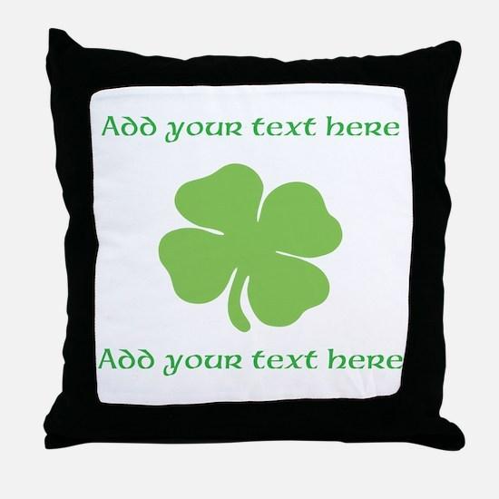 St. Patricks Day personalisable shamrock Throw Pil